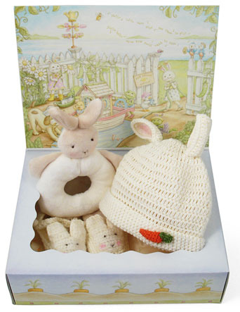 Bunnies by the Bay 'Wee Bunny' Rattle, Bootie & Hat Set (Baby)