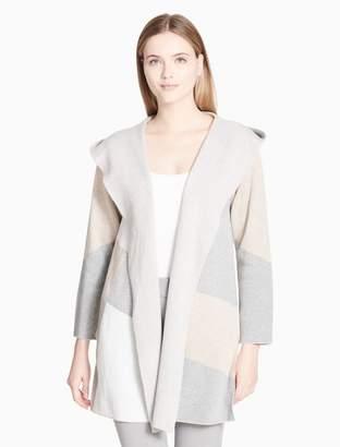 Calvin Klein colorblock 3/4 sleeve hooded sweater jacket