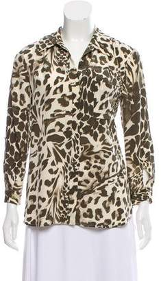 Diane von Furstenberg Silk Animal Print Long Sleeve Button-Up