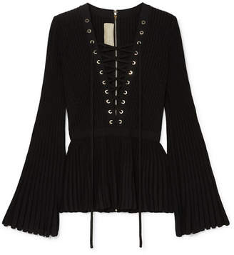 Elie Saab Lace-up Ribbed-knit Top - Black