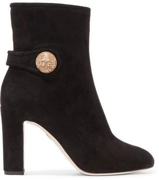 Dolce & Gabbana Embellished Suede Ankle Boots - Black