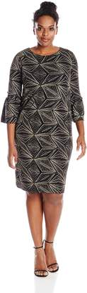 Amy Byer Women's Plus-Size Bell Sleeve Glitteratti Sheath Dress
