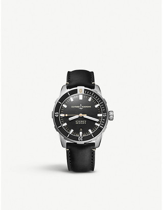 Ulysse Nardin Diver stainless steel and leather watch