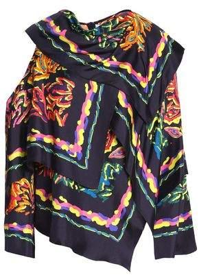Peter Pilotto Asymmetric Printed Silk-Twill Blouse