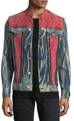 Robin's Jeans Studded Mixed-Denim Trucker Jacket $615 thestylecure.com