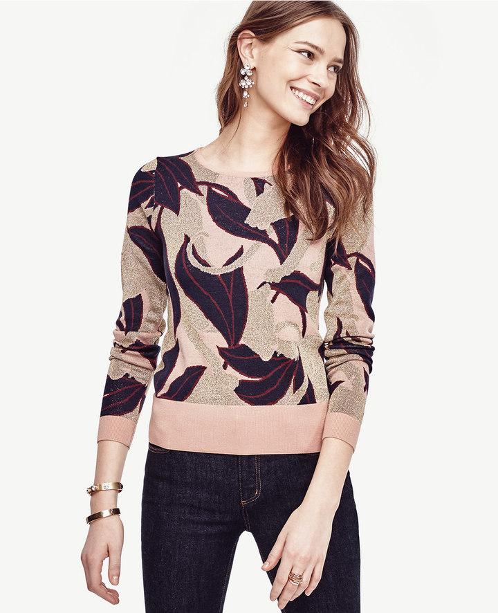 Ann TaylorPetite Abstract Jacquard Extrafine Merino Wool Sweater