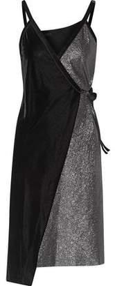 Maje Richa Paneled Velvet And Textured-Lamé Wrap Dress