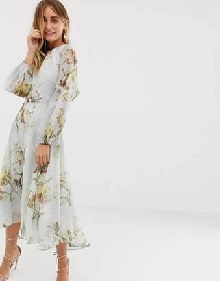 Hope & Ivy high neck midi dress with open back in blue floral