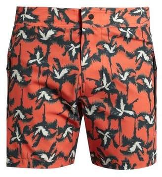 Everest Isles - Drauper Palm Tree Print Swim Shorts - Mens - Red Multi