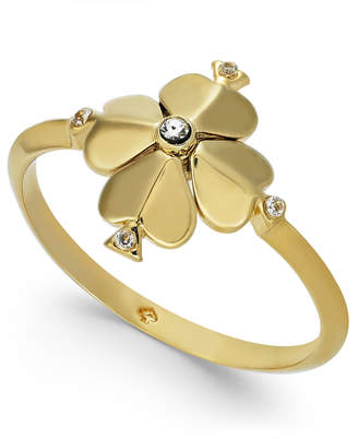 Kate Spade Gold-Tone Crystal Flower Ring