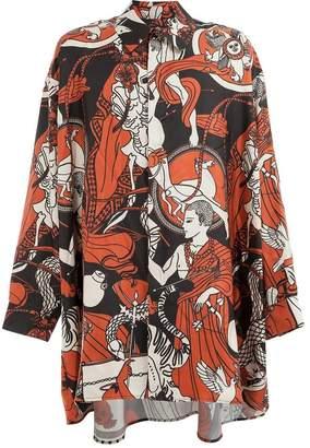 Edward Crutchley contrast print long-sleeve shirt