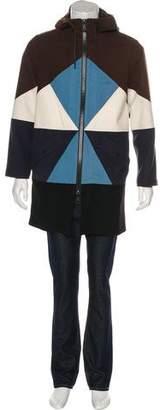 Valentino Wool Hooded Colorblock Coat