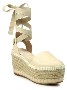 Tory Burch Dandy Leather Ankle-Wrap Wedge Platform Espadrilles $375 thestylecure.com