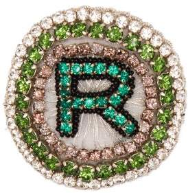 Rochas R Logo Crystal Embellished Brooch - Womens - Green