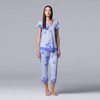 323b38c033 Vera Wang Women s Simply Vera Printed Top   Capri Pajama Set