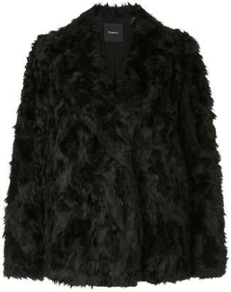 Theory short faux fur jacket