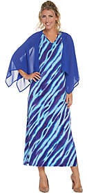 Bob Mackie Bob Mackie's Animal Print Maxi Dress with SolidWoven Shrug