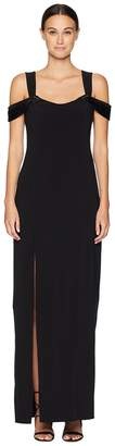 Halston Cold Shoulder Open Back Neck Fitted Crepe Gown Women's Dress
