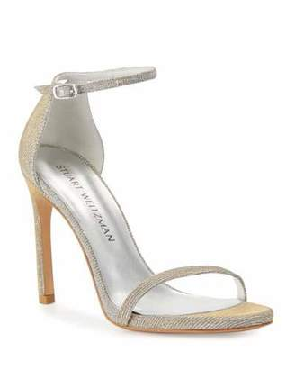 d1d68692c0a12 Stuart Weitzman Nudistsong Shimmery Ankle-Wrap Sandals, Silver