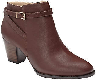 Vionic Leather Ankle Boots with Buckle- Upton