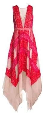 BCBGMAXAZRIA Women's Pieced Lace Asymmetric Hem Dress - Bright Coral Multi - Size 0