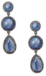 Champagne Diamond, Kyanite and Silver Round and Pear Cut Drop Earrings