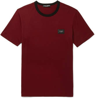 Dolce & Gabbana Appliqued Cotton-Jersey T-Shirt - Burgundy