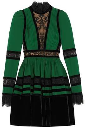 Elie Saab Chantilly Lace Velvet And Pintucked Crepe Mini Dress