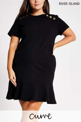 River Island Womens Curve Black Plus Size Eton Dress - Black