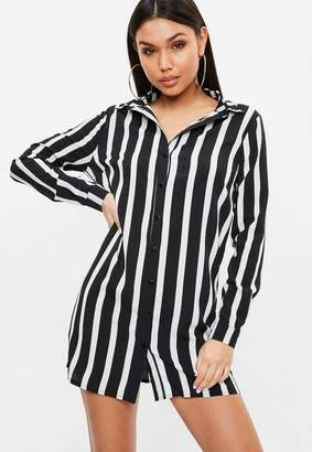 Missguided Black Stripe Long Sleeve Shirt Dress, Multi