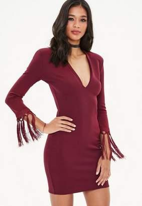 Missguided Burgundy Plunge Tassel Open Back Mini Dress
