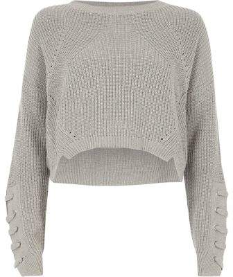 River Island Womens Grey lace-up eyelet sleeve cropped sweater