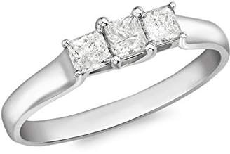 N. Carissima Gold Women's 18 ct White Gold 0.50 ct Square Diamonds Ring - Size