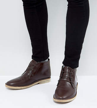 Asos Design Wide Fit Desert Boots In Brown Leather With Perforated Detail