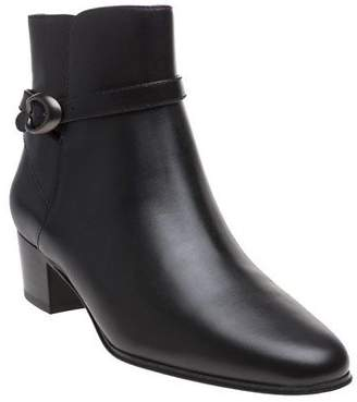 Coach New Womens Black Chrystie Leather Boots Ankle Buckle Zip