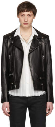 Saint Laurent Black Lambskin Classic Moto Jacket
