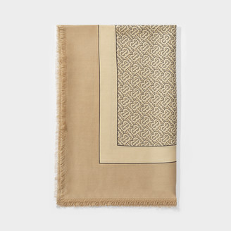 Burberry Tb Lightweight Scarf In Pale Camel Printed Cashmere