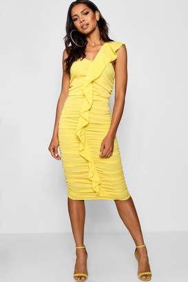 boohoo Ruffle One Shoulder Midi Dress