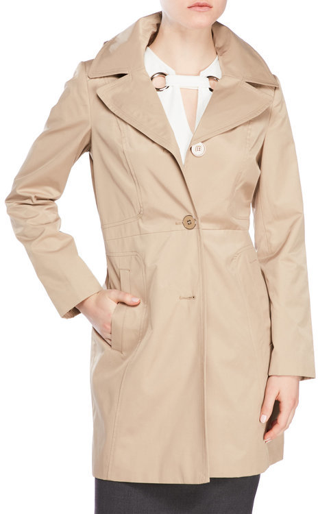 Anne Klein anne klein Notched Lapel Button Closure Trench