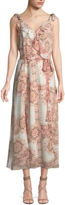 Nanette Lepore Nanette Ruffle-Trim Rustic-Medallion Print Midi Dress