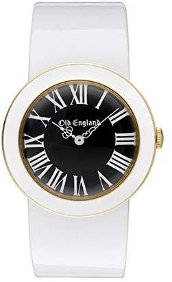 Old England Women's Quartz Watch with Black Dial Analogue Display and White Plastic Strap Oe107Sr