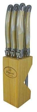 Laguiole By Louis Thiers Set of 6 Steak Knives & Wood Block