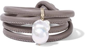 Mizuki - 14-karat Gold, Leather And Pearl Wrap Bracelet - Gray $395 thestylecure.com