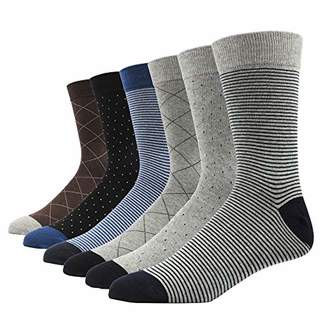 SOXART Men's Dress Socks 6 Pack Classic Cotton Solid & Patterned for Business