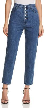 J Brand Heather Button-Fly Straight Jeans in Electrify