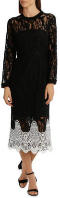 Jayson Brunsdon NEW Black Label High Neck Black Lace Dress With Applique