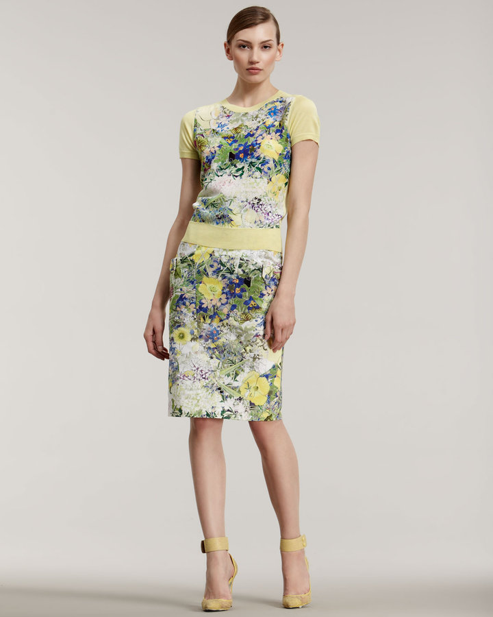 Erdem Ormani Printed Pencil Skirt