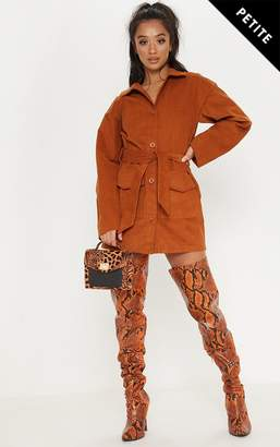 PrettyLittleThing Petite Rust Cord Button Front Belted Shirt Dress