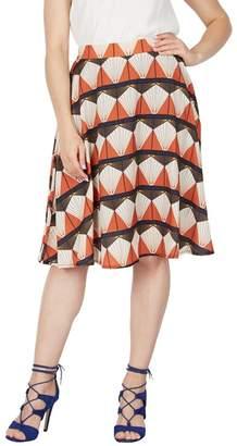 Tenki - Multicoloured Geo Patterned Skater Skirt