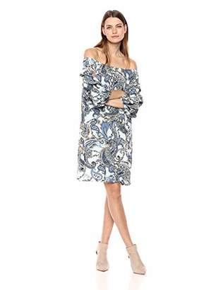 MSK Women's On/Off The Shoulder Balloon Sleeve Dress with Paisley Motif